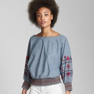 Gap Embroidered smocked Long Sleeve chambray top